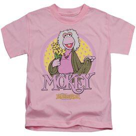 Fraggle Rock Mokey Circle Short Sleeve Juvenile Pink T-Shirt