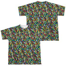 Rubiks Cube Cube Stack (Front Back Print) Short Sleeve Youth Poly Crew T-Shirt