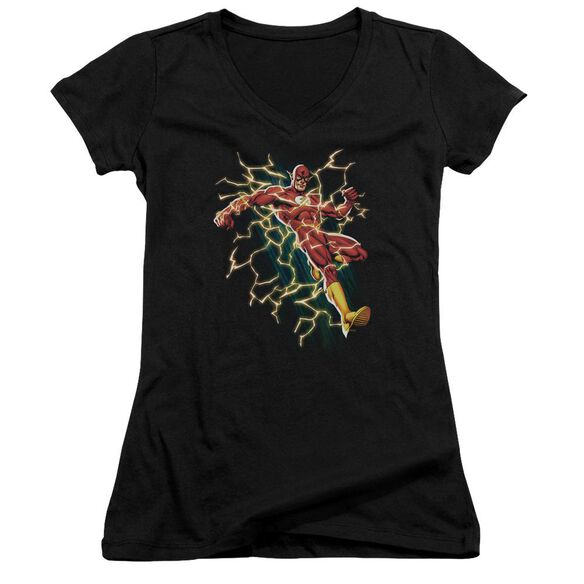 Jla Electric Death Junior V Neck T-Shirt