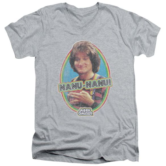 Mork & Mindy Nanu Nanu Short Sleeve Adult V Neck Athletic T-Shirt