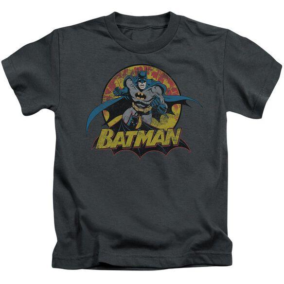 Jla Batman Rough Distress Short Sleeve Juvenile Charcoal T-Shirt