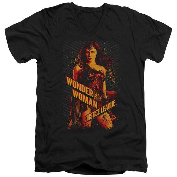 Justice League Movie Wonder Woman Short Sleeve Adult V Neck T-Shirt
