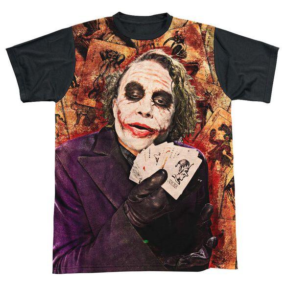 Dark Knight Jokers Wild Short Sleeve Adult Front Black Back T-Shirt