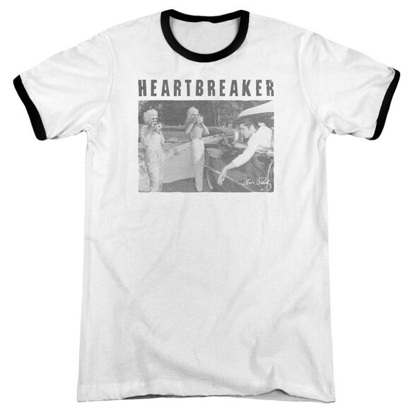Elvis Heartbreaker Adult Ringer White Black