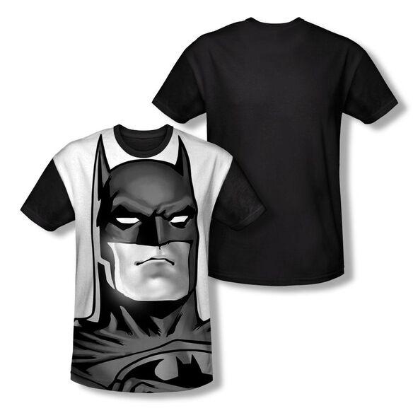 Batman Bw Bat Head Short Sleeve Adult Front Black Back T-Shirt
