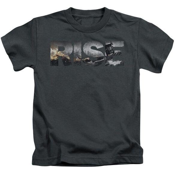 Dark Knight Rises Title Short Sleeve Juvenile Charcoal Md T-Shirt
