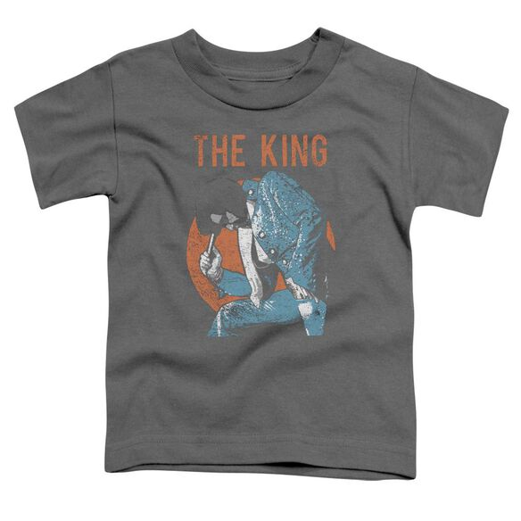 Elvis Mic In Hand Short Sleeve Toddler Tee Charcoal T-Shirt