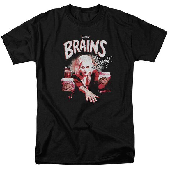 Izombie Brains And Beauty Short Sleeve Adult Black T-Shirt