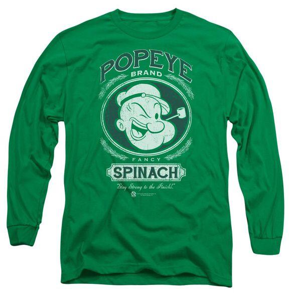 Popeye Fancy Spinach Long Sleeve Adult Kelly T-Shirt