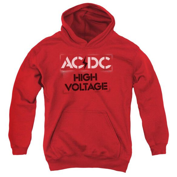 Acdc High Voltage Stencil Youth Pull Over Hoodie