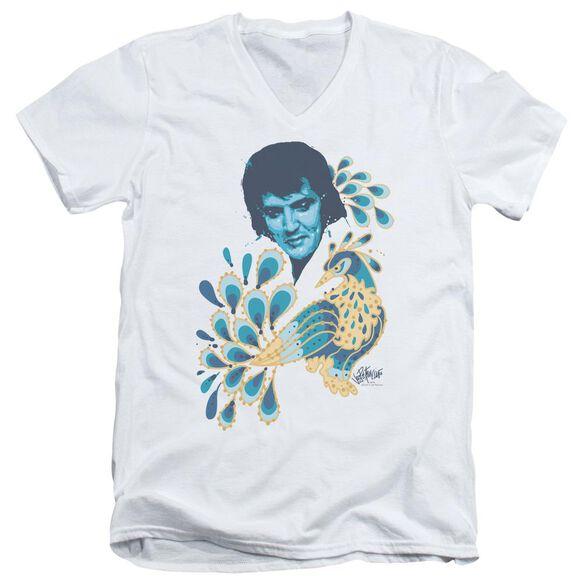 Elvis Peacock Short Sleeve Adult V Neck T-Shirt
