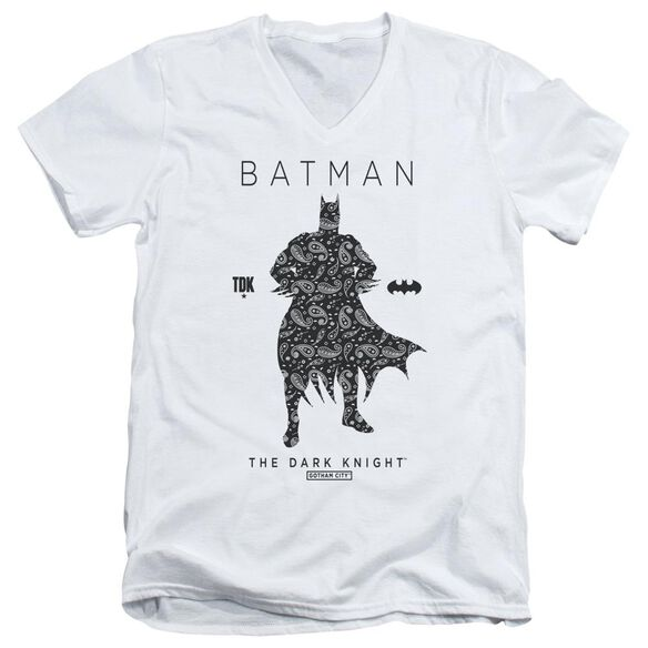 Batman Paislety Silhouette Short Sleeve Adult V Neck T-Shirt