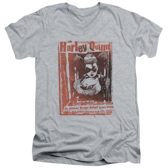 Batman Dr Quinn Short Sleeve Adult V Neck Athletic T-Shirt
