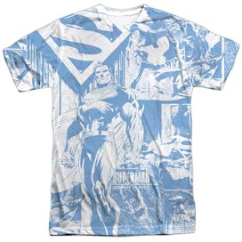 Superman Man Of Steel Collage Short Sleeve Adult 100% Poly Crew T-Shirt
