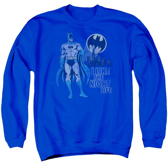 Dc Night Life Adult Crewneck Sweatshirt Royal