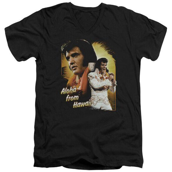 Elvis Aloha Short Sleeve Adult V Neck T-Shirt