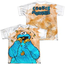 Sesame Street Cookie Crumbs (Front Back Print) Short Sleeve Youth Poly Crew T-Shirt