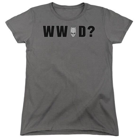 Dark Knight Wwbd Head Short Sleeve Womens Tee Charcoal T-Shirt