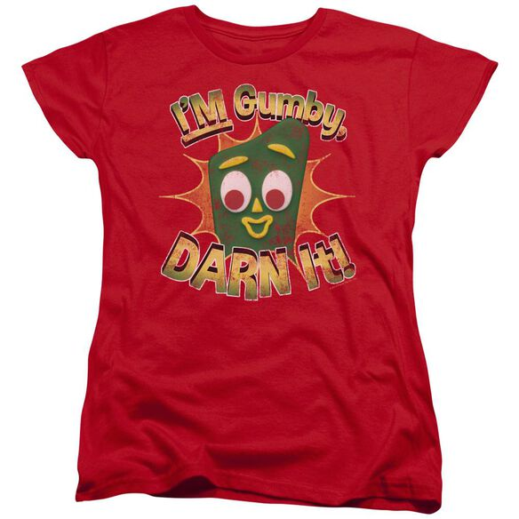 GUMBY DARN IT - S/S WOMENS TEE - RED T-Shirt