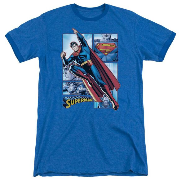 Jla Superman Panels Adult Heather Ringer Royal Blue