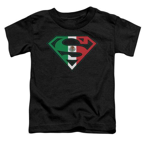 Superman Mexican Flag Shield Short Sleeve Toddler Tee Black T-Shirt