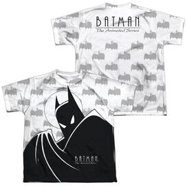 Batman The Animated Series Large Silhouette (Front Back Print) Short Sleeve Youth Poly Crew T-Shirt