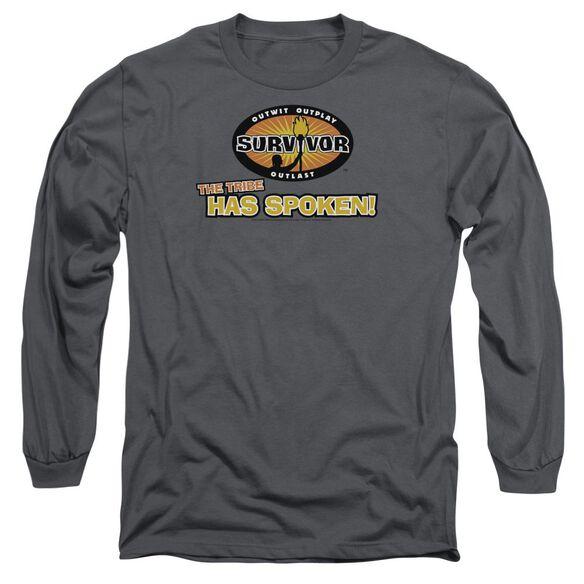 SURVIVOR TRIBE HAS SPOKEN - L/S ADULT 18/1 - CHARCOAL T-Shirt