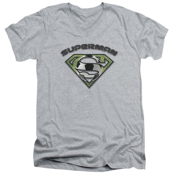 Superman Soccer Shield Short Sleeve Adult V Neck Athletic T-Shirt