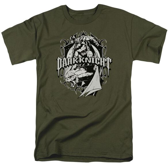 Batman Ready To Strike Short Sleeve Adult Military Green T-Shirt