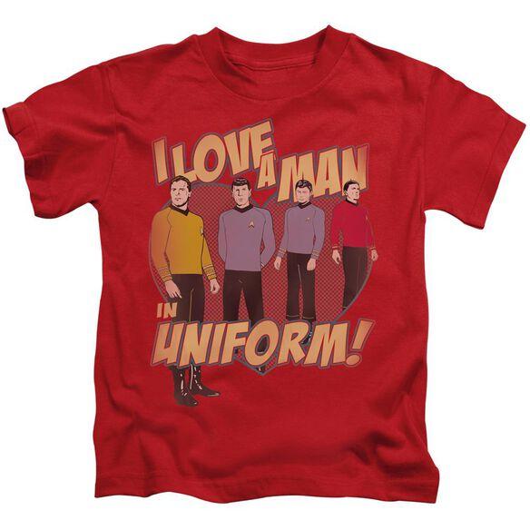 Star Trek Man In Uniform Short Sleeve Juvenile Red T-Shirt