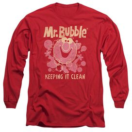 Mr Bubble Keeping It Clean Long Sleeve Adult T-Shirt