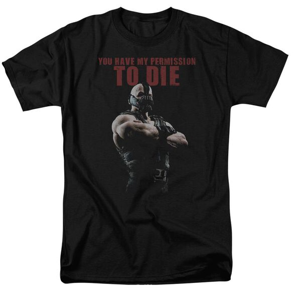 Dark Knight Rises Permission To Die Short Sleeve Adult Black T-Shirt