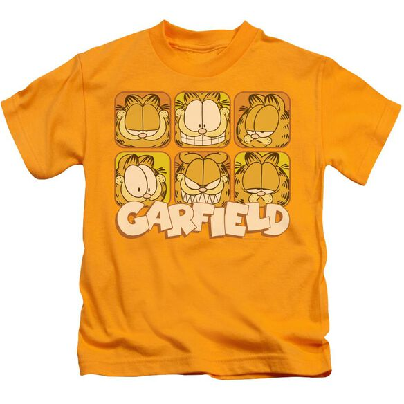 Garfield Many Faces Short Sleeve Juvenile Gold Md T-Shirt
