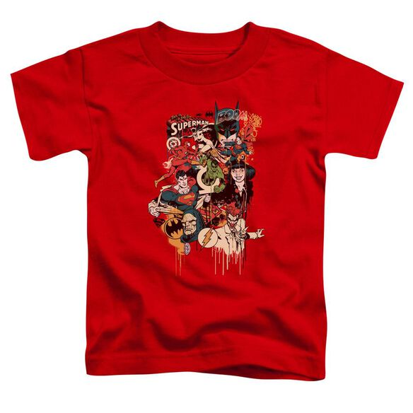 Dc Dripping Characters Short Sleeve Toddler Tee Red Lg T-Shirt