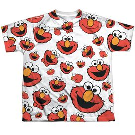 Sesame Street Elmo Face Pattern Short Sleeve Youth Poly Crew T-Shirt