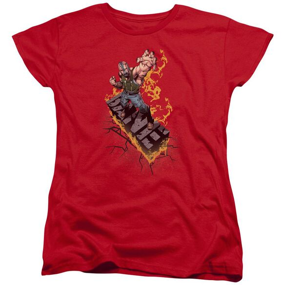 Dark Knight Rises Bane On Fire Short Sleeve Womens Tee Red T-Shirt