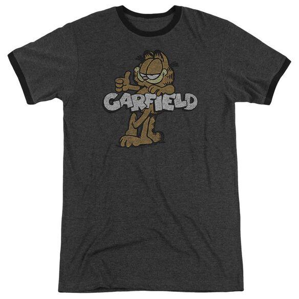Garfield Retro Garf Adult Heather Ringer Charcoal