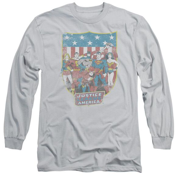 Dc Jla American Shield Long Sleeve Adult T-Shirt