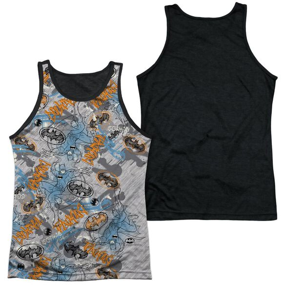 Batman Gotham Knight Sketchy Adult Poly Tank Top Black Back
