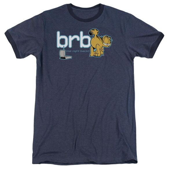 Garfield Be Right Back Adult Heather Ringer Navy