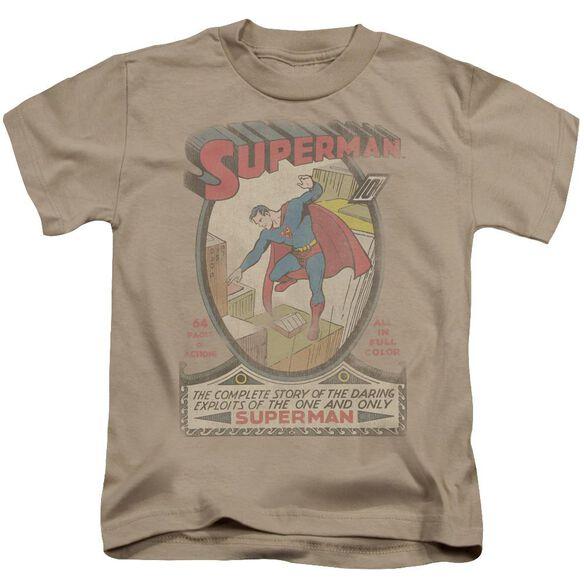 Dc Superman 1 Distressed Short Sleeve Juvenile Sand T-Shirt