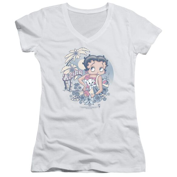 Betty Boop Aloha Junior V Neck T-Shirt