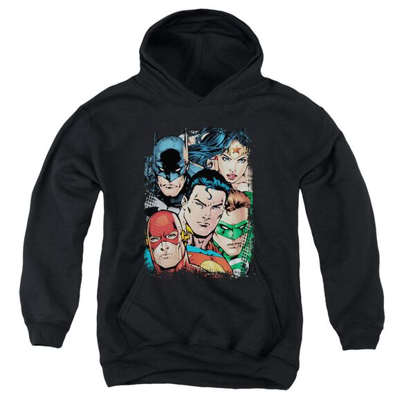 Jla Up Close And Personal Youth Pull Over Hoodie
