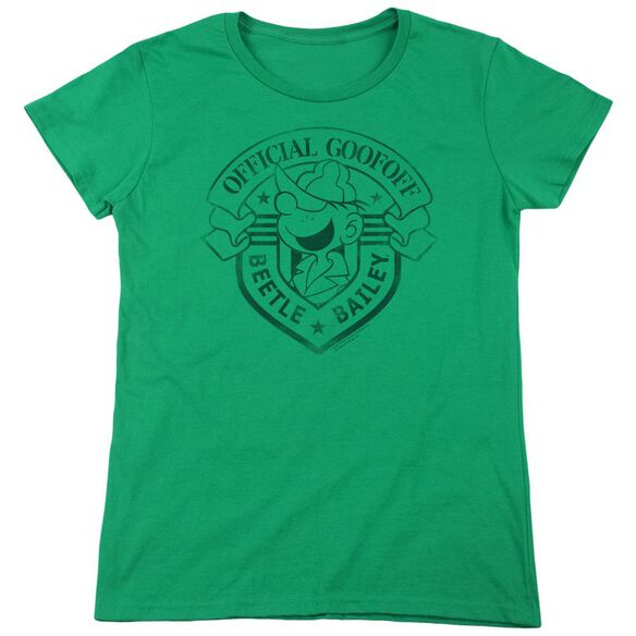 Beetle Bailey Official Badge Short Sleeve Womens Tee Kelly T-Shirt