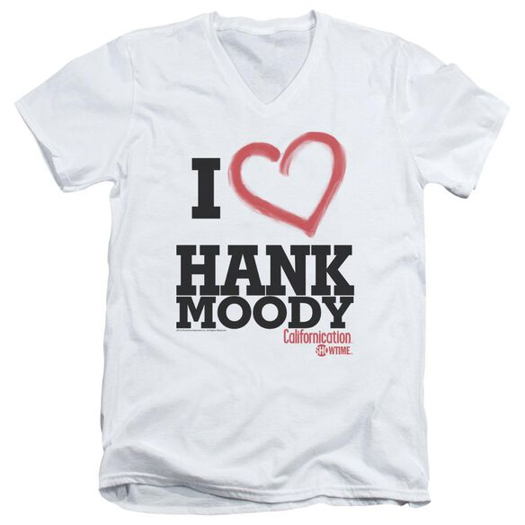 Californication I Heart Hank Moody Short Sleeve Adult V Neck T-Shirt