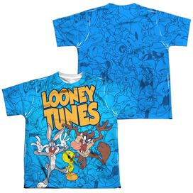 Looney Tunes Collage Of Characters (Front Back Print) Short Sleeve Youth Poly Crew T-Shirt