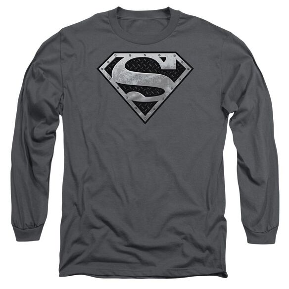 Superman Super Metallic Shield Long Sleeve Adult T-Shirt