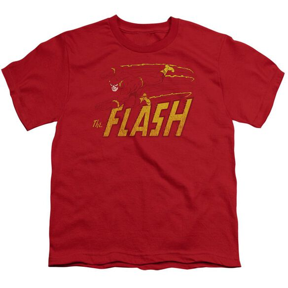 Dc Flash Speed Distressed Short Sleeve Youth T-Shirt