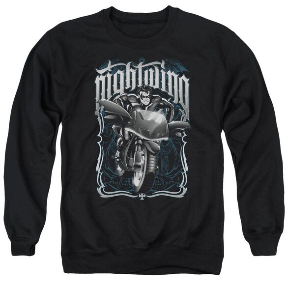 Batman Nightwing Biker - Adult Crewneck Sweatshirt - Black