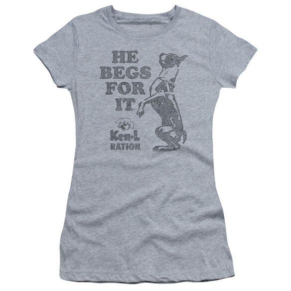 Ken L Ration Begs Short Sleeve Junior Sheer Athletic T-Shirt